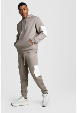 Mens Taupe Original MAN Contrast Utility Hooded Tracksuit
