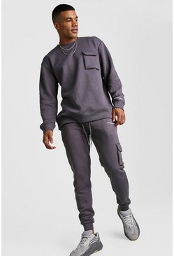 Official MAN Loose Fit Utility Sweater Tracksuit, Charcoal, HERREN