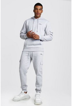 MAN Signature Cargo Hooded Tracksuit, Grey, HOMMES