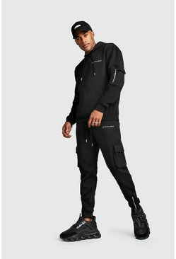 Mens Black MAN MA1 Utility Hooded Tracksuit With Zip Detail