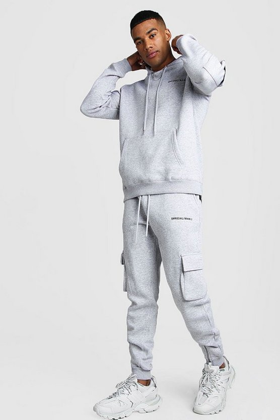 Grey MAN MA1 Utility Hooded Tracksuit With Zip Detail