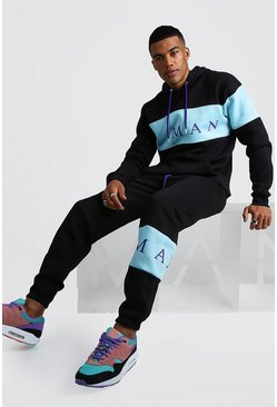 Mens Black MAN Sport Contrast Panel Hooded Tracksuit
