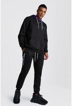 Official MAN Hooded Tracksuit With Contrast Hood, Black, HOMMES