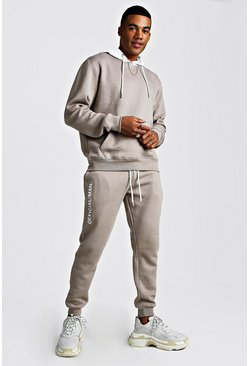 Official MAN Hooded Tracksuit With Contrast Hood, Taupe, HERREN