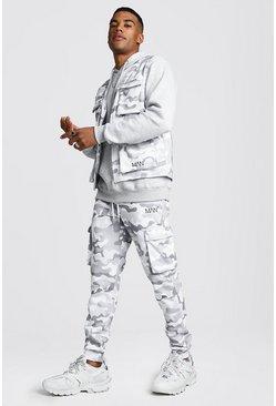 Light grey Camo Utility Vest & Jogger Set With 3D Pockets
