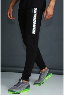 Mens Black MAN Active Skinny Fit Joggers With Placement Print