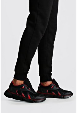Mens Black Colour Pop Chunky Trainer