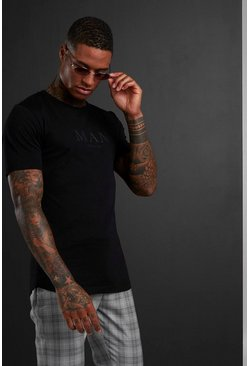Muscle Fit MAN Roman T-Shirt With Curved Hem, Black
