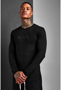 Mens Black Muscle Fit MAN Roman Long Sleeve T-Shirt