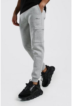 Mens Grey marl MAN Signature Scuba Cargo Zip Pocket Jogger