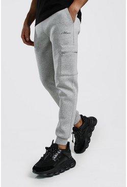 Grey marl MAN Signature Scuba Cargo Zip Pocket Jogger
