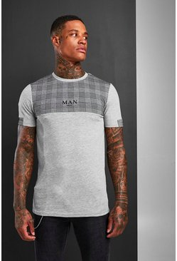 Grey Muscle Fit MAN Jacquard Check Panel T-Shirt