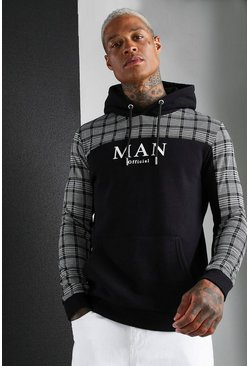 MAN Roman Jacquard Check Panel Hoodie, Black