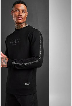 Black Muscle Fit MAN Roman Sleeve Tape Sweat