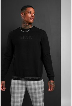 MAN Roman Sweatshirt With Tape Hem, Black