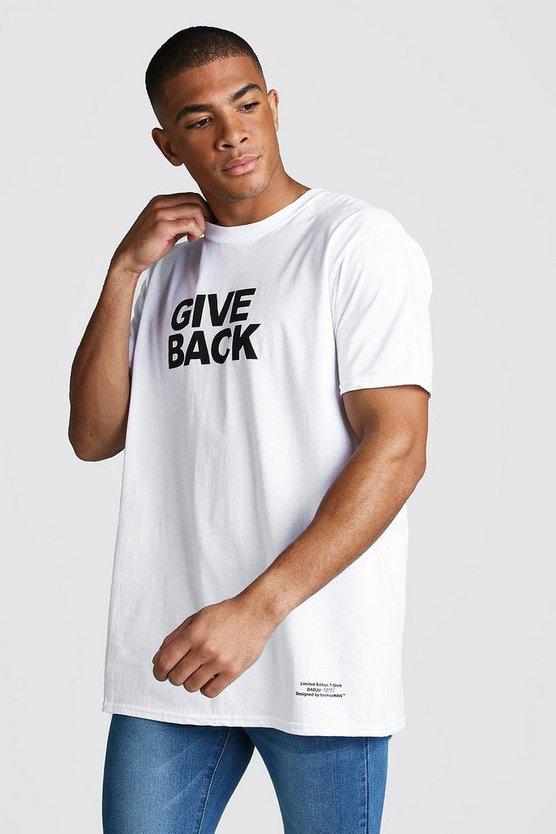 Dadju Charity Oversized Give Back Print T Shirt by Boohoo Man