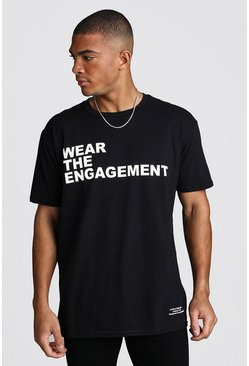 Mens Black Dadju Charity Oversized We Are Engagement Tee