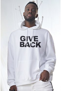 Mens White Oversized Dadju Give Back Charity Hoodie