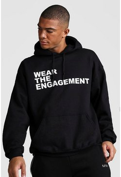 Mens Black Oversized Dadju Wear The Engagement Hoodie