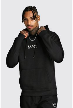 Black Original MAN Print Over The Head Hoodie