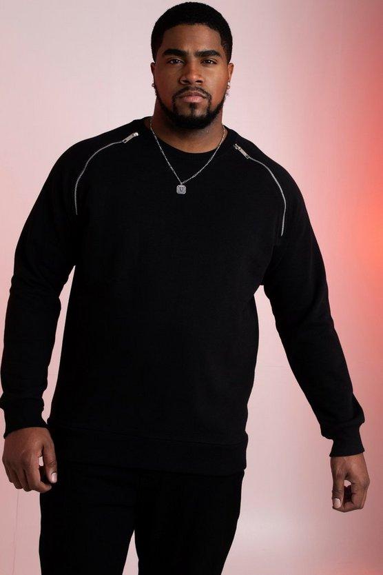 big and tall raglan sweatshirt with zip detail boohooman. Black Bedroom Furniture Sets. Home Design Ideas