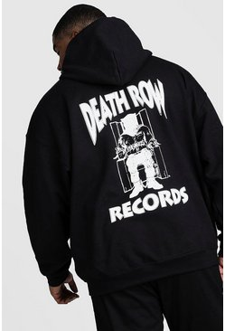 Big And Tall Death Row Records License Hoodie, Black
