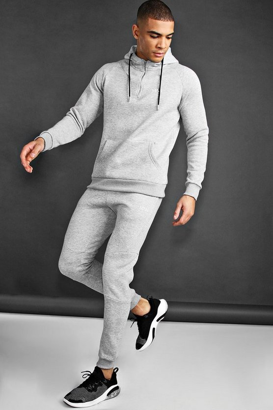 Man Active Tapered 1/4 Zip Tracksuit by Boohoo Man