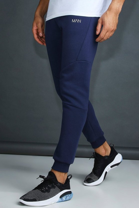Mens Navy MAN Active Tapered Fit Jogger