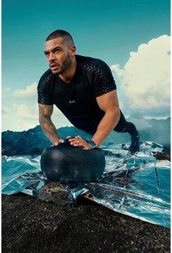 Black MAN Active Raglan T-Shirt With Reflective Detail