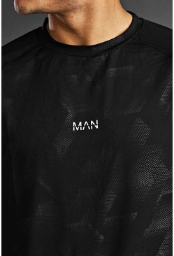 Black Man Active Fabric Interest Raglan T-Shirt