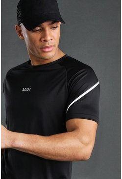 Mens Black MAN Active T-Shirt With Reflective Sleeve Detail