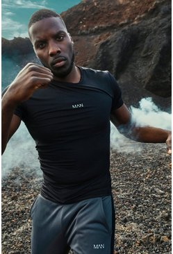 Black MAN Active Compression T-Shirt With Seam Detail