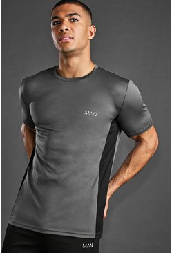 MAN Active T-Shirt With Panel Detail, Charcoal
