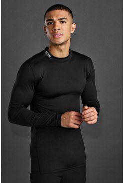 T-shirt manches longues en colorblock MAN Active, Noir