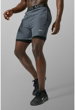 MAN Active 2-in-1 Shorts, Anthrazit