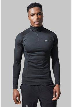 Black MAN Active Raglan Muscle Fit 1/4 Zip Top