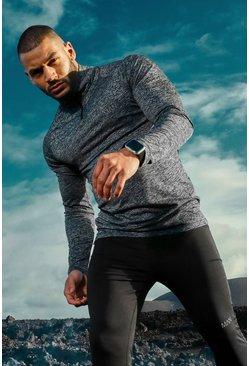 Charcoal MAN Active Raglan Skinny Fit Funnel Neck Top