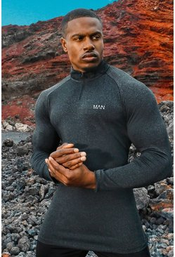 MAN Active Raglan Skinny Fit Funnel Neck Top, Black
