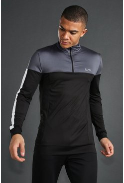 Charcoal MAN Active Skinny 1/4 Zip Funnel Neck Top