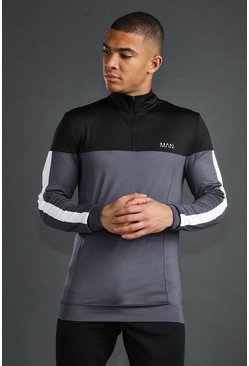 Black MAN Active Skinny 1/4 Zip Funnel Neck Top