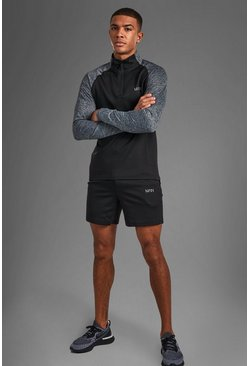 Black MAN Active Funnel Neck Short Set