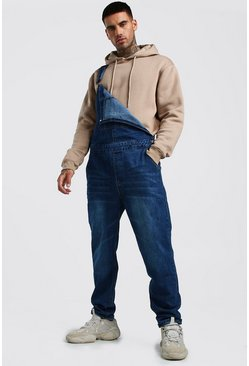 Mens Dark wash Relaxed Fit Long Length Denim Dungarees