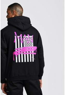 MAN Graffiti Flag Back Print Hoodie, Black, HOMMES