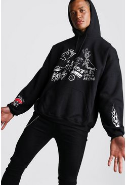 Oversized Graffiti Front And Sleeve Print Hoodie, Black, HOMMES