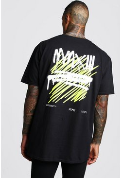Oversized MAN Graffiti MMXIII Back Print T-Shirt, Black, HOMMES