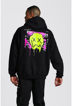 Mens Black Oversized Drip Face Graffiti Print Hoodie