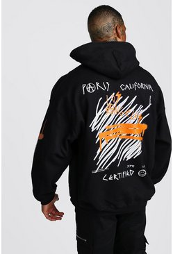 Oversized MAN Graffiti Hoodie With Sleeve Print, Black, HOMMES
