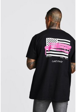 Oversized MAN Graffiti Flag Back Print T-Shirt, Black, HOMMES