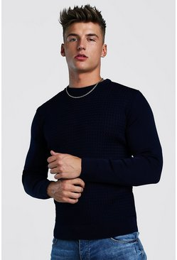 Mens Navy Muscle Fit Knitted Jumper With Textured Body