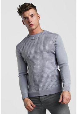 Silver Muscle Fit Knitted Jumper With Textured Body